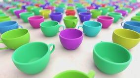 Μεγάλη σειρά ζωηρόχρωμων φλυτζανιών καφέ με το ρηχό βάθος του τομέα διανυσματική απεικόνιση