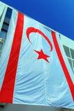 Μεγάλη σημαία της βόρειας Κύπρου Στοκ Εικόνες