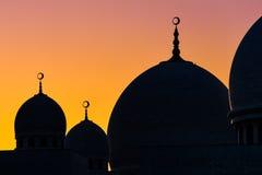 Μεγάλη σκιαγραφία θόλων μουσουλμανικών τεμενών Στοκ εικόνα με δικαίωμα ελεύθερης χρήσης