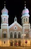 Μεγάλη συναγωγή σε Plzen τη νύχτα Στοκ φωτογραφία με δικαίωμα ελεύθερης χρήσης