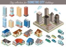 Μεγάλη συλλογή για τα isometric κτήρια πόλεων Σύνολο Στοκ Εικόνα