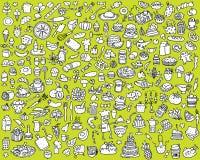 Μεγάλη συλλογή εικονιδίων τροφίμων και κουζινών σε γραπτό Στοκ Φωτογραφία