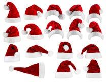 Μεγάλη συλλογή καπέλων santa Στοκ Φωτογραφίες