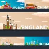 Μεγάλη συλλογή των εμβλημάτων ταξιδιού στη χώρα Επίπεδη απεικόνιση Vecor Στοκ Εικόνες