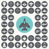 Μεγάλη συλλογή των διαφορετικών εικονιδίων αεροπλάνων καθορισμένων Διανυσματική απεικόνιση
