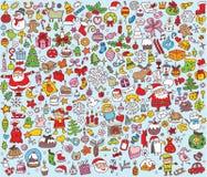 Μεγάλη συλλογή Χριστουγέννων των λεπτών μικρών συρμένων χέρι απεικονίσεων Στοκ Εικόνα