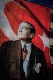 Μεγάλη τουρκική σημαία με Ataturk Στοκ φωτογραφία με δικαίωμα ελεύθερης χρήσης