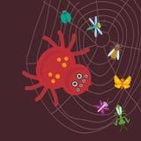 Μεγάλη τρομακτική καφετιά αράχνη Σφήκα κανθάρων mantis λιβελλουλών πεταλούδων που μπλέκεται στον Ιστό μιας αράχνης στο καφετί υπό Στοκ Φωτογραφία