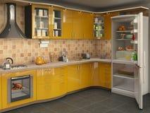 Μεγάλη φωτεινή κουζίνα με το ψυγείο, Στοκ Εικόνα