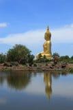 Μεγάλη χρυσή αντανάκλαση συνεδρίασης αγαλμάτων του Βούδα στο νερό Στοκ Εικόνα