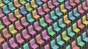 Μεγάλη Isometric λεκιασμένη Colorfully σειρά ξύλινων εδρών που αντιμετωπίζουν προς τα εμπρός Στοκ Εικόνες