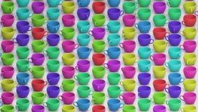 Μεγάλη Isometric σειρά ζωηρόχρωμων φλυτζανιών καφέ στο σκυρόδεμα ελεύθερη απεικόνιση δικαιώματος