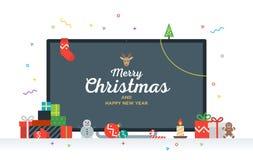Μεγάλη TV με τη συγχαρητήρια Χαρούμενα Χριστούγεννα κειμένων απεικόνιση αποθεμάτων
