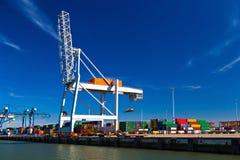 Μεγάλοι γερανοί εμπορευματοκιβωτίων στο λιμένα του Ρότερνταμ Στοκ Φωτογραφία
