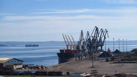 Μεγάλοι γερανοί λιμένων που φορτώνουν το φορτίο σε ένα σκάφος Στοκ Εικόνα