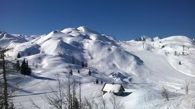 Μεγάλοι όροι χιονιού σε Vogel, Σλοβενία στοκ εικόνα