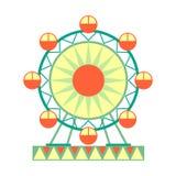 Μεγάλος γύρος ροδών Ferris, μέρος του λούνα παρκ και δίκαιη σειρά επίπεδων απεικονίσεων κινούμενων σχεδίων Στοκ Φωτογραφίες