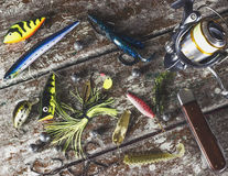 μεγάλος επιτυχής εξοπλισμός κλωστών αλιείας Στοκ Εικόνα