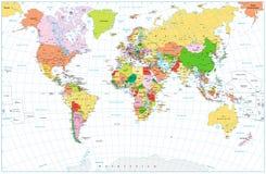 Μεγάλος λεπτομερής πολιτικός παγκόσμιος χάρτης με το νερό απομονωμένο αντικείμενα ο Στοκ Φωτογραφίες