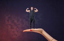 Μεγάλος θηλυκός αθλητικός τύπος εκμετάλλευσης χεριών με τα όπλα του που παρουσιάζουν μυς Στοκ Εικόνα