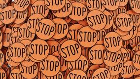Μεγάλος διαταγμένος σωρός των κυκλικών πορτοκαλιών σημαδιών στάσεων Στοκ Φωτογραφία
