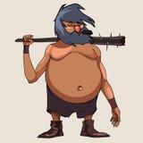Μεγάλος-διογκωμένο χαρακτήρας κινουμένων σχεδίων άτομο με ένα ρόπαλο Στοκ φωτογραφία με δικαίωμα ελεύθερης χρήσης