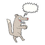 μεγάλος κακός λύκος κινούμενων σχεδίων με τη λεκτική φυσαλίδα Στοκ φωτογραφία με δικαίωμα ελεύθερης χρήσης