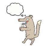 μεγάλος κακός λύκος κινούμενων σχεδίων με τη σκεπτόμενη φυσαλίδα Στοκ Φωτογραφίες