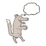 μεγάλος κακός λύκος κινούμενων σχεδίων με τη σκεπτόμενη φυσαλίδα Στοκ φωτογραφία με δικαίωμα ελεύθερης χρήσης