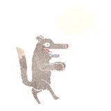 μεγάλος κακός λύκος κινούμενων σχεδίων με τη σκεπτόμενη φυσαλίδα Στοκ εικόνες με δικαίωμα ελεύθερης χρήσης