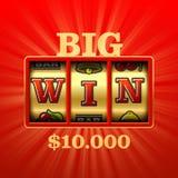 Μεγάλος κερδίστε το μηχάνημα τυχερών παιχνιδιών με κέρματα Στοκ φωτογραφίες με δικαίωμα ελεύθερης χρήσης