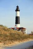 Μεγάλος κοκκώδης φάρος σημείου στους αμμόλοφους, που χτίζονται το 1867 στοκ εικόνες