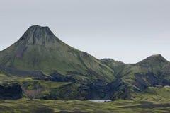 Μεγάλος κρατήρας έκρηξης σε Lakagigar, Ισλανδία Στοκ Εικόνες