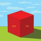 Μεγάλος κόκκινος κύβος στην πράσινη χλόη Αφίσα ή κάλυψη ελεύθερη απεικόνιση δικαιώματος