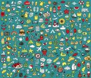 Μεγάλος το καλοκαίρι και η συλλογή εικονιδίων διακοπών διανυσματική απεικόνιση