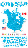 Μεγάλος χάρτης των ΗΠΑ και του Καναδά και τα κράτη του Στοκ Φωτογραφία