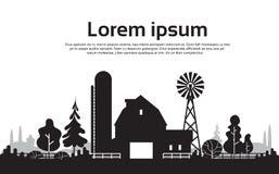 Μεγάλο αγρόκτημα σκιαγραφιών με το σπίτι, τοπίο επαρχίας καλλιεργήσιμου εδάφους Στοκ εικόνες με δικαίωμα ελεύθερης χρήσης