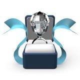 Μεγάλο δαχτυλίδι διαμαντιών κατά την μπροστινή άποψη κιβωτίων δώρων ελεύθερη απεικόνιση δικαιώματος