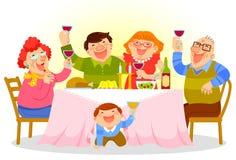 μεγάλο γεύμα παιδιών που τρώει την πίτσα μητέρων οικογενειακών πατέρων απεικόνιση αποθεμάτων