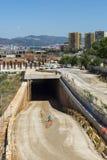 Μεγάλο εργοτάξιο οικοδομής στη Βαρκελώνη Στοκ Φωτογραφία