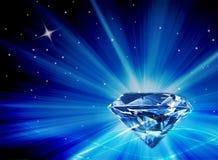 Μεγάλο διαμάντι Faux με τις φωτεινές μπλε εκρήξεις του φωτός Στοκ εικόνα με δικαίωμα ελεύθερης χρήσης