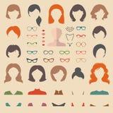 Μεγάλο διανυσματικό σύνολο φορέματος επάνω στον κατασκευαστή με τα διαφορετικά κουρέματα γυναικών, τα γυαλιά, τα χείλια κ.λπ. Επί Απεικόνιση αποθεμάτων