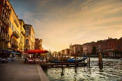 Μεγάλο κανάλι μετά από το ηλιοβασίλεμα, Βενετία Στοκ Εικόνες