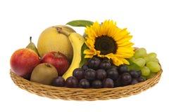 Μεγάλο καλάθι των φρούτων με τον ηλίανθο Στοκ φωτογραφίες με δικαίωμα ελεύθερης χρήσης
