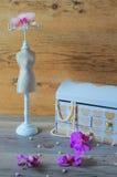 Μεγάλο κιβώτιο κοσμήματος, θαυμάσιο περιδέραιο μαργαριταριών Στοκ Φωτογραφία
