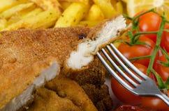 Μεγάλο κοτόπουλο schnitzel με τις σπιτικές τηγανιτές πατάτες τσίλι Στοκ φωτογραφία με δικαίωμα ελεύθερης χρήσης