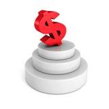 Μεγάλο κόκκινο σύμβολο νομίσματος δολαρίων στη συγκεκριμένη εξέδρα Στοκ Εικόνες