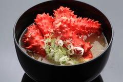 Μεγάλο κύπελλο της κόκκινης σούπας ποδιών καβουριών βασιλιάδων χιονιού με το κρεμμύδι και miso Στοκ Εικόνα