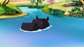 Μεγάλο μαύρο Hippopotamus προκύπτει από το νερό διανυσματική απεικόνιση