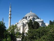 Μεγάλο μουσουλμανικό μουσουλμανικό τέμενος με τους υψηλούς μιναρή στην πόλη της Ιστανμπούλ, Τουρκία στοκ εικόνα